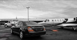 Limo picking up private aircraft passenger at Boundary Bay Airport.